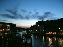 Grand canal night time. Grand canal at Rialto , nightime. Venice stock image