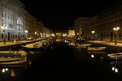 Grand Canal by night, Trieste It. Grand Canal by night with boats moored, Trieste Italy royalty free stock photo