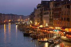 Grand Canal at Night, Venice. Stock Photography