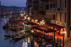 Grand Canal at Night, Venice. Royalty Free Stock Photo