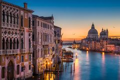 Grand Canal at night, Venice. Grand Canal at night with Basilica Santa Maria della Salute, Venice, Italy Royalty Free Stock Photos
