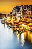 Grand Canal at night, Venice stock image
