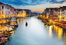 Grand Canal at night, Venice Royalty Free Stock Photography