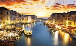 Grand Canal at night, Venice Royalty Free Stock Image