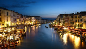Grand Canal at night, Venice royalty free stock photos