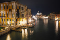 Grand canal by night in Venice, Italy Stock Image
