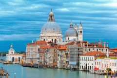 Grand canal at night in Venice, Italy Stock Photos