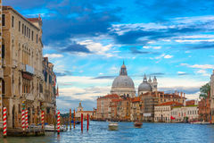 Grand canal at night in Venice, Italy Stock Image