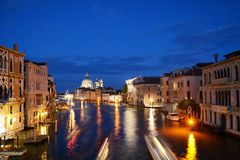 Grand Canal by night, Venice, Italy Stock Images