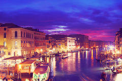 Grand Canal in the night, Venice, Italy Stock Photo