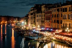 Grand Canal at night in Venice, Italy Royalty Free Stock Images