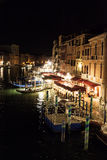 Grand Canal at night in Venice, Itlay Stock Photos