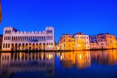 Grand canal view in Venice, Italy at blue hour before sunrise. Grand canal night view in Venice, Italy at blue hour before sunrise Royalty Free Stock Images