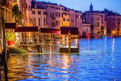 Grand canal view in Venice, Italy at blue hour before sunrise. Grand canal night view in Venice, Italy at blue hour before sunrise Stock Photography