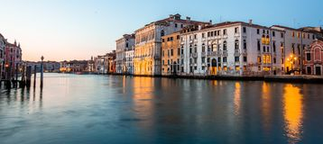 Grand canal view in Venice, Italy at blue hour before sunrise. Grand canal night view in Venice, Italy at blue hour before sunrise Royalty Free Stock Photography