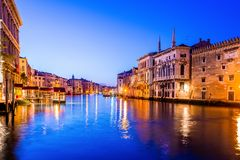 Grand canal view in Venice, Italy at blue hour before sunrise. Grand canal night view in Venice, Italy at blue hour before sunrise Stock Images
