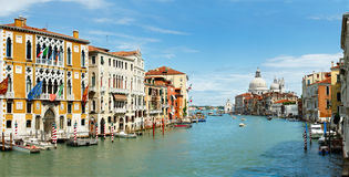 Grand Canal Pano. Panoramic view of Grand Canal with Bacilica from Academia bridge XXL Royalty Free Stock Photography