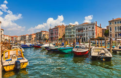 Grand Canal panoramautsikt Venedig Italien Royaltyfri Fotografi
