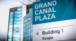Grand Canal Plaza Building 1 Google sign in front of the Irish headquarters of international business google. Dublin, Ireland - February 12, 2019: Grand Canal stock photos