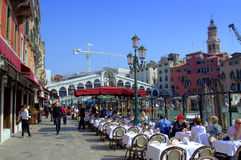 Grand Canal restaurant,Venice Royalty Free Stock Photography