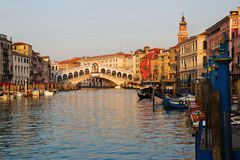 Grand Canal with Rialto Bridge Royalty Free Stock Photo