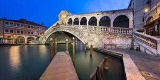 Grand Canal and Rialto Bridge at Dawn, Venice Italy Stock Images