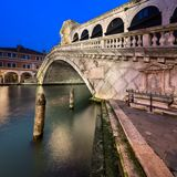 Grand Canal and Rialto Bridge at Dawn, Venice Italy Stock Photography