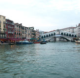 The Grand Canal And The Rialto Bridge  Royalty Free Stock Images