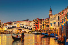 Grand Canal and Rialto Bridge, Venice Royalty Free Stock Photography