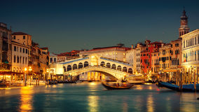 Grand Canal and Rialto Bridge, Venice Stock Photo