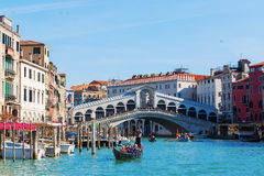 Grand Canal with Rialto Bridge in Venice, Italy Royalty Free Stock Photography