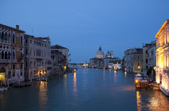 Grand Canal and Salute church at dusk Stock Photo