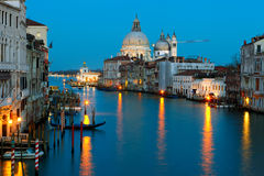 Grand canal and Salute at dusk, Venice Royalty Free Stock Images