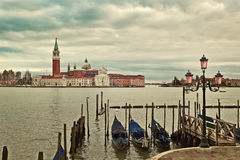 Grand Canal and San Giorgio Maggiore church. Stock Images