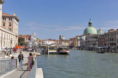 Grand Canal and San Simeone Piccolo church in Venice, Italy. Royalty Free Stock Photos