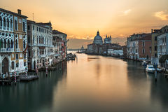 Grand Canal and Santa Maria della Salute Church from Accademia Stock Photo