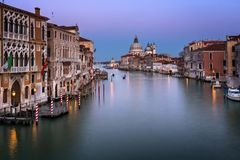 Grand Canal and Santa Maria della Salute Church in the Evening Royalty Free Stock Photos