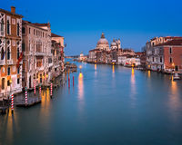 Grand Canal and Santa Maria della Salute Church in the Evening, Royalty Free Stock Photos