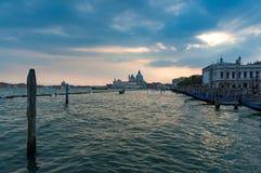Grand Canal and Santa Maria della Salute church on sunset Royalty Free Stock Image
