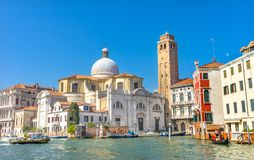 Grand Canal Santo Stefano Church Basilica Venice Italy Stock Images