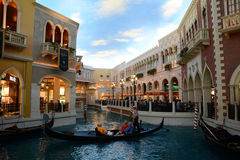 Grand Canal Shoppes at Venetian Hotel Las Vegas. Image of the gondolas and river inside the Venetian Resort Hotel Casino in Las Vegas Stock Images