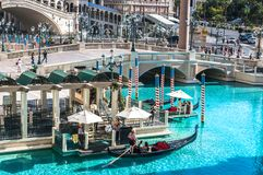 Grand Canal Shoppes at The Venetian and Treasure Island, Luxurious casino and hotel. Street scenery of Las Vegas. Las Vegas, Nevada, USA - June 18, 2017 Royalty Free Stock Photography