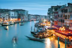 Grand Canal, shot with a long exposure, Venice at night Stock Photos