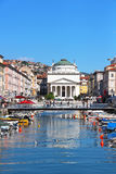 Grand canal and St. Antonio Taumaturgo church in Trieste, Italy Stock Photos