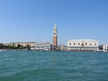 Grand Canal with St Marks Campanile bell tower and Palazzo Ducale, Doge Palace, in Venice, Italy stock photography