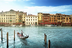Grand Canal in sunny morning, Venice, Italy Stock Images