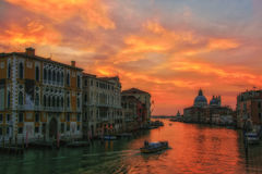 Grand canal at sunrise, Venice, Italy Stock Images