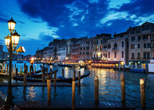 Grand Canal in sunset time, Venice, Italy Stock Images