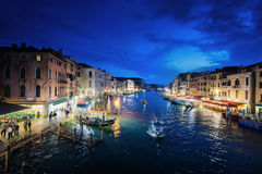 Grand Canal in sunset time, Venice, Italy Royalty Free Stock Photos