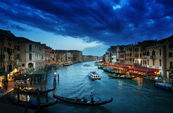 Grand Canal in sunset time, Venice, Italy Stock Photos